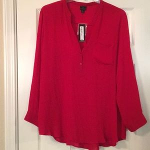NWT Red Worthington XL Long Sleeve Blouse